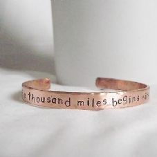 "Lovely Handmade Copper ""a journey of a thousand miles..."" Statement Cuff Bangle"